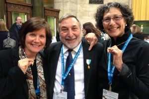 Three members of the GSSPA Board are Columbia Gold Key recipients after Friday's awards ceremony at Columbia University. From left are Andi Mulshine, the newest recipient, and John Tagliareni and Bonnie Blackman, who were so  honored in previous years.